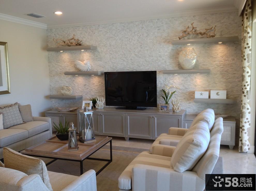 硅藻泥客厅电视背景墙装修效果图