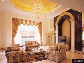 奢华欧式别墅客厅吊顶装修效果图