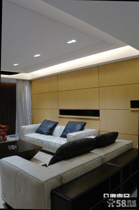 现代风格客厅转角布沙发靠垫图片
