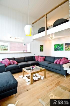 简约风格小复式家庭客厅装修效果图