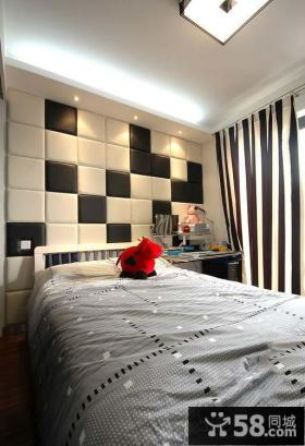 现代风格卧室魔块软包背景墙设计