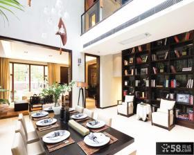 中式古典风格餐厅连书房装修效果图