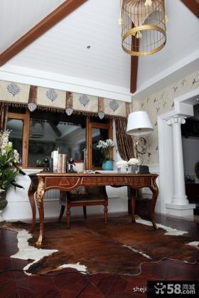 美式奢华联排别墅样板间 书房装修效果图