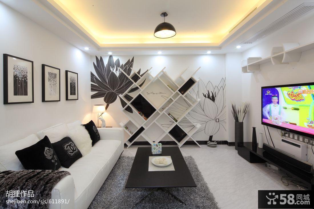 现代风格客厅电视机背景墙图片