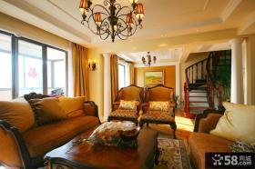 复式楼客厅实木家具图片大全