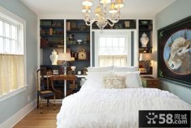 美式田园风格卧室背景墙装修图