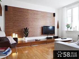 小户型原木色调客厅电视背景墙装修效果图大全2014图片