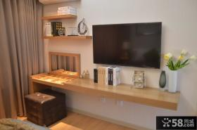 50平米小户型简约客厅置物架背景墙装修效果图