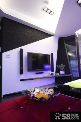 现代风格家庭电视背景墙装修设计图
