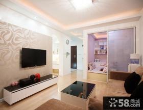 简约家装客厅电视背景墙壁纸效果图
