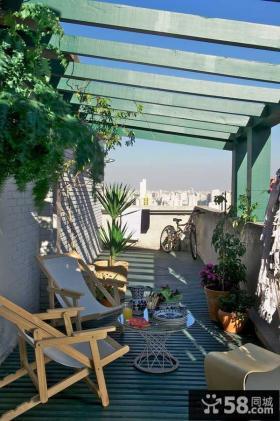 日式露天阳台花园装修设计效果图