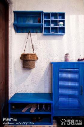 地中海风格进门玄关鞋柜效果图