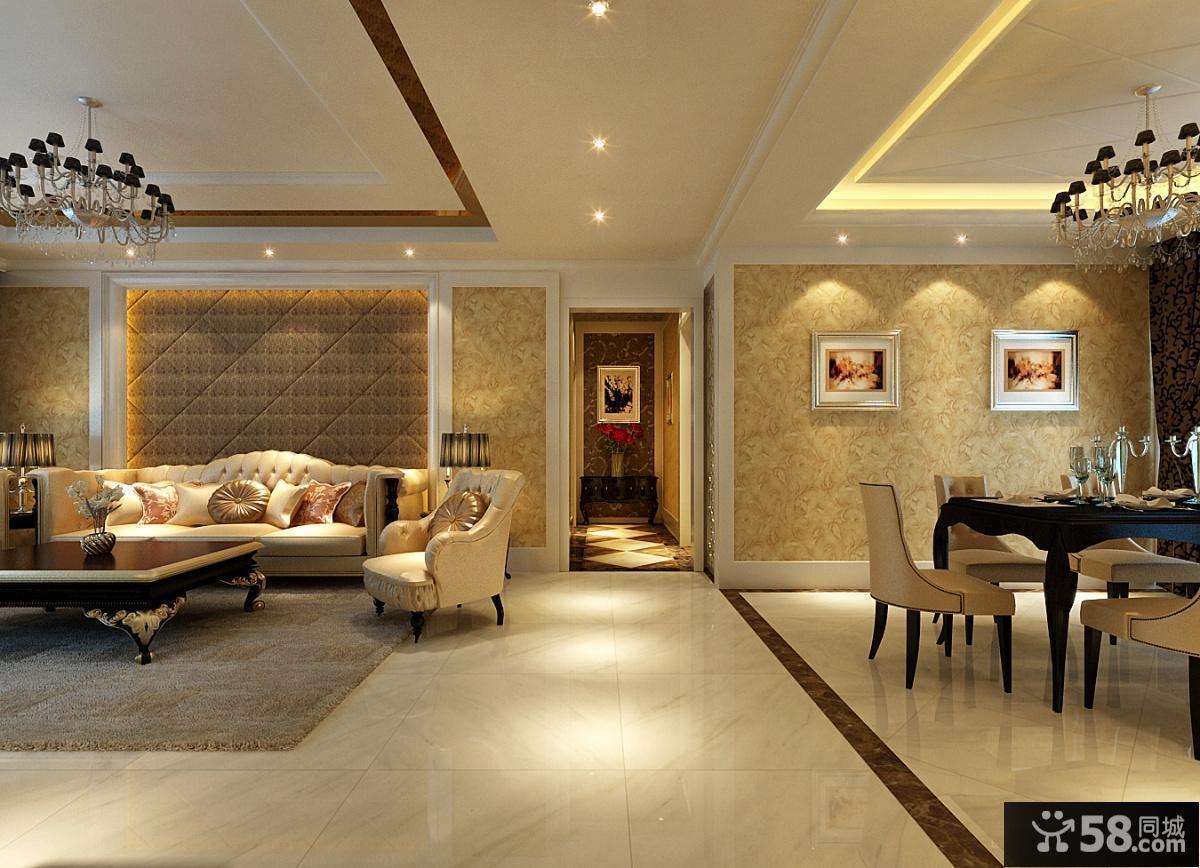 欧式现代客厅餐厅过道装修效果图图片