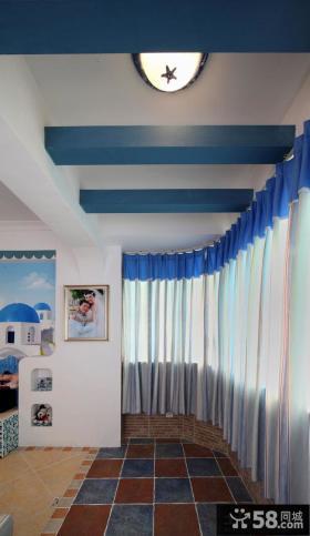 室内阳台弧形窗帘效果图