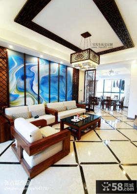 中式客厅天花吊顶装饰设计
