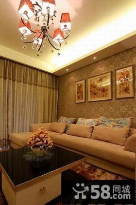 现代客厅沙发背景墙壁纸效果图
