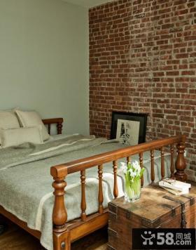 小卧室复古砖块背景墙装修效果图