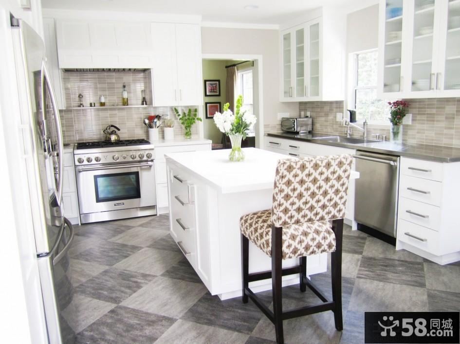 简欧风格开放式厨房装修图图片