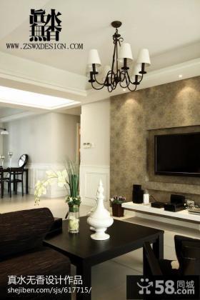 现代风格家庭客厅电视机背景墙装修效果图