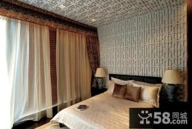 中式古典别墅卧室窗帘装修效果图大全