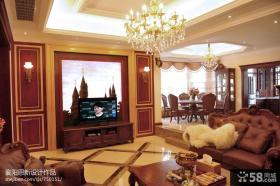 美式风格客厅挂画电视背景墙装修效果图