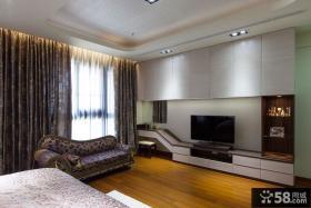 现代卧室电视背景墙装饰设计效果图