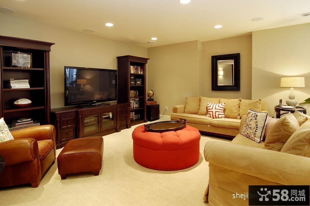 美式风格客厅沙发电视背景墙装修效果图