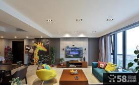 130平米明亮现代风格三居室内设计效果图