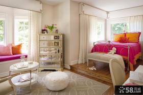 欧式简约主卧室装修效果图大全2012图片 欧式卧室飘窗装修设计图片