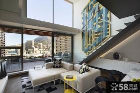 奢华现代简约设计复式客厅图片