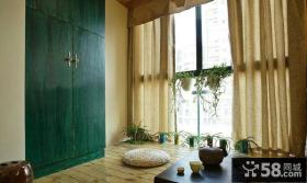 日式风格公寓客厅阳台窗帘图片
