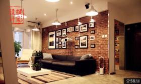 美式乡村风格一室一厅客厅红砖墙效果图2014