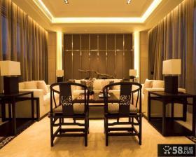 暖色调别墅客厅背景墙装饰效果图