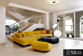 100平米复式楼客厅装修效果图