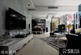 现代客厅墙纸电视背景墙装修效果图