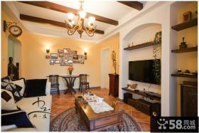 美式风格两室两厅客厅电视墙效果图