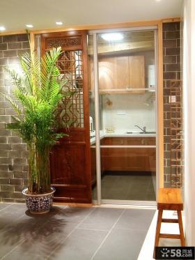 中式风格家居厨房门装饰盆景图片