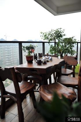 中式小阳台装修效果图