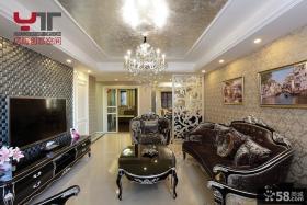 欧式新古典四居客厅电视背景墙效果图