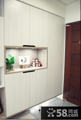 进门玄关白色鞋柜效果图片