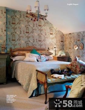 美式乡村风格样板间卧室壁纸图片