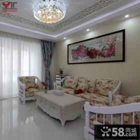 欧式田园风格客厅沙发背景墙效果图大全