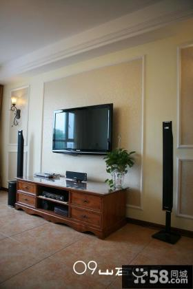 美式风格装修实木电视柜效果图