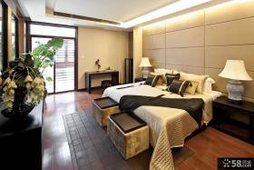 现代中式别墅卧室床头背景墙装修效果图
