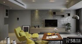 简约客厅瓷砖电视背景墙效果图