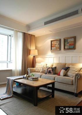 现代美式风格客厅沙发背景墙图片大全