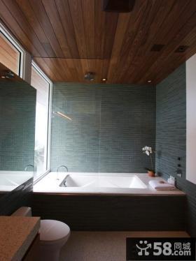 简约浴室桑拿板吊顶效果图