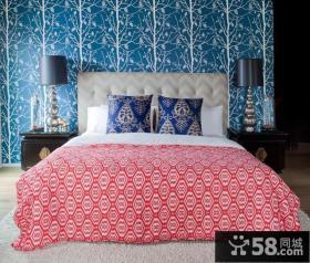 卧室背景墙壁纸装修效果图