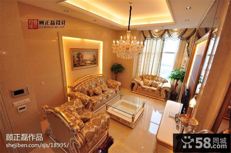 奢华欧式风格装修客厅沙发摆放效果图