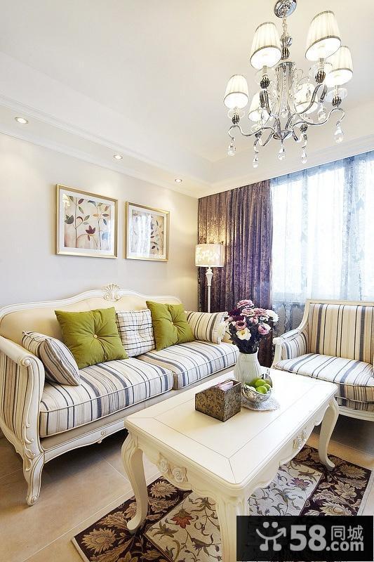 欧式风格三居客厅沙发茶几图片